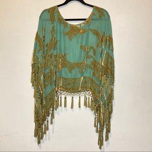 Vintage 1920s Blue Green Sequin Tassel Poncho OS